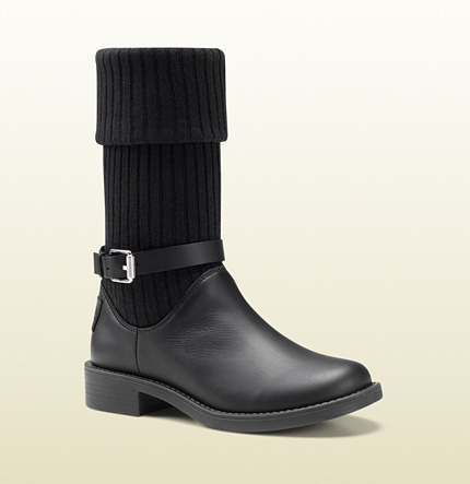 Gucci Knitted Boot With Leather Base