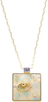 Retrouvai - Widsom Diamond, Opal & 14kt Gold Necklace - Light Green