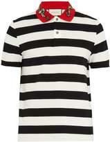 Gucci Snake-appliqué striped cotton polo shirt