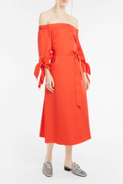 Tibi Off-The-Shoulder Waist-Tie Dress