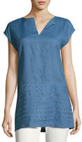 Lafayette 148 New York Summer Short-Sleeve Embroidered Linen Blouse, Medium Blue
