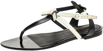 Louis Vuitton White/Black Patent Leather Seastar Thong Flat Sandals Size 41