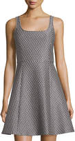 Theory Square-Neck Knit Dress, Gray/Multi
