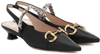 Gucci Horsebit leather slingback pumps