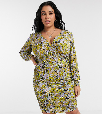 Vero Moda Curve wrap dress in green floral