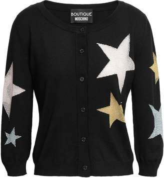 Moschino Metallic Intarsia Wool Cardigan