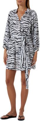 Melissa Odabash Amy Coverup Tiger Stripe Shirtdress