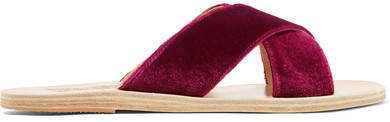 Ancient Greek Sandals Thais Velvet And Leather Slides - Plum