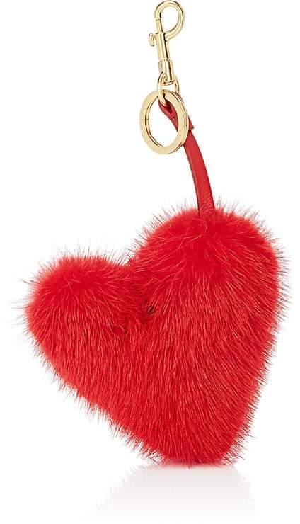 Anya Hindmarch Women's Heart-Shaped Mink Fur Bag Charm
