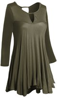 Hot From Hollywood Women's Round Keyhole Neck & Back Loose Casual Flare Tunic Top