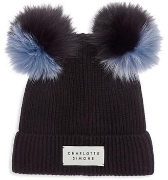 CHARLOTTE SIMONE Teddy Fox Fur-Trimmed Cashmere Beanie