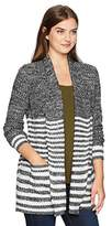 Jason Maxwell Women's Long Sleeve Marled Stripe Collar Cardigan With Pockets