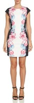 CeCe Women's Colorblock Floral Sheath Dress