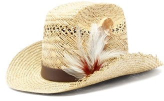 Saint Laurent Feather-trimmed Straw Cowboy Hat - Mens - Beige