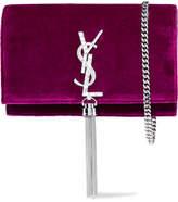 Saint Laurent Monogramme Kate Small Velvet Shoulder Bag - Purple