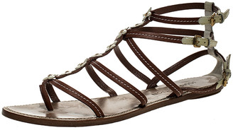 Louis Vuitton Brown/White Leather Fleurus Flower Detail Strappy Flats Sandals Size 40.5