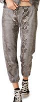 Monrow Foil Snake Elastic-Waist Sweatpants