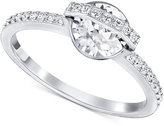 Swarovski Silver-Tone Clear Crystal and Pavé Statement Ring