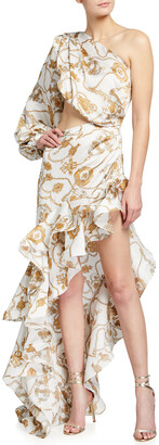 Bronx and Banco Chain Print One-Shoulder High-Low Ruffle Gown