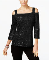 INC International Concepts Petite Sequined Cold-Shoulder Top, Only at Macy's