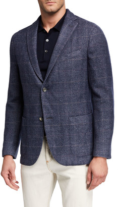 Boglioli Men's Washed Wool Plaid Two-Button Jacket