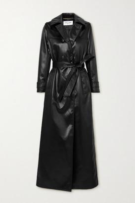 Saint Laurent Belted Faux Leather Trench Coat - Black