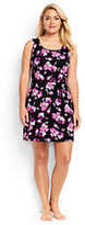 Lands' End Women's Plus Size Sleeveless Swim Cover-up Dress-Black/Tropical Pink Blossoms