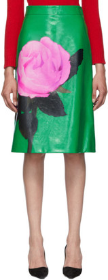 Prada Green Large Rose Print Skirt