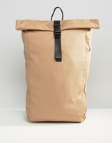 Farah Canvas Rolltop Backpack Stone