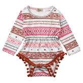 honeys Newborn Baby Girls Ethnic Style Pom Retro Long Sleeve Romper Bodysuit (12-18months, )