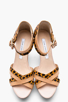 Diane von Furstenberg Nude Leather & Cheetah Printed Calf-hair Alara Wedge Sandals