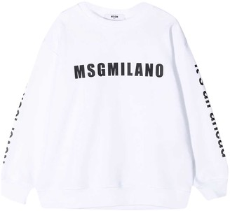 MSGM White Moncler Enfant Teen Sweatshirt