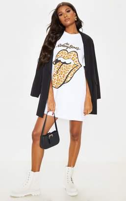 PrettyLittleThing Rolling Stones Tongue Oversized T Shirt Dress