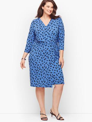 Talbots Knit Jersey Faux Wrap Dress - Bicolor Daisies