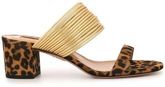 Aquazzura Leopard Print Heeled Sandals