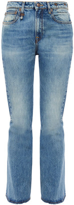 R 13 Caddy Faded High-rise Flared Jeans