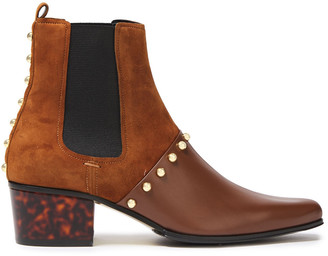 Balmain Artemisia Studded Suede And Leather Ankle Boots