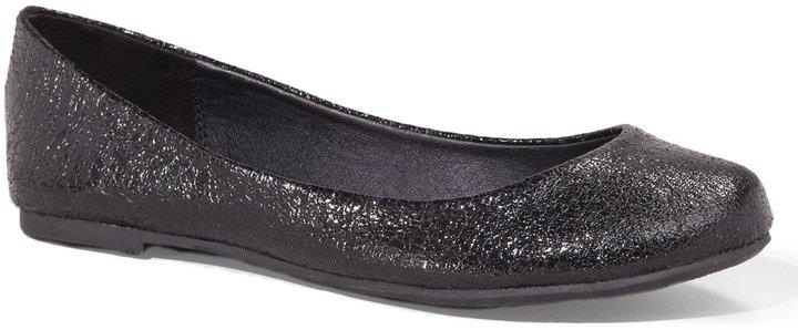 Express Crinkled Metallic Round Toe Ballet Flat