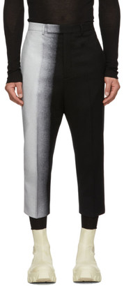 Rick Owens Black and Silver Degrade Trousers