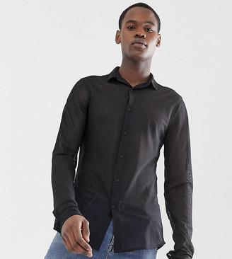 Asos DESIGN Tall slim fit mesh shirt in black