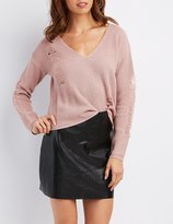 Charlotte Russe Distressed V-Neck Cropped Sweater