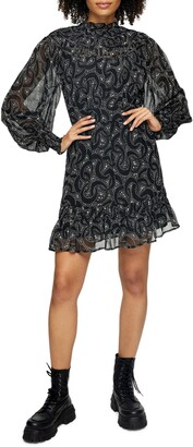 Topshop Abstract Print Long Sleeve Minidress