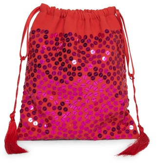ATTICO Hand-Embroidered Sequined Pouch