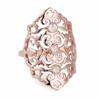 Neola Jade Rose Gold Cocktail Ring With Rose Quartz