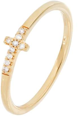 Carriere Yellow Gold Plated Sterling Silver Pave Diamond Cross Ring - 0.05 ctw