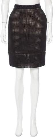 Chanel Tweed-Trimmed Mesh Skirt