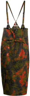 Julien David Tie-Dye Print Suspender Skirt