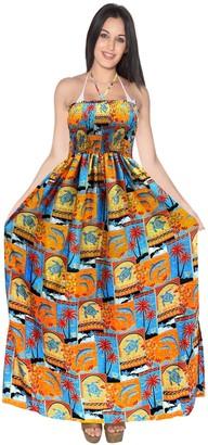 LA LEELA Tube Top Skirt Women's Beachwear Cover up Long Swimwear Dress Swimsuit Pumpkin Orange_K529