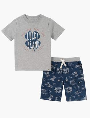 Lucky Brand 12m-24m Shirt And Palm Tree Short Set