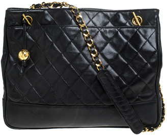 Chanel Black Quilted Leather Vintage Chain Timeless Tote